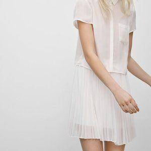 BABATON Denley White Pleated Mini Skirt Size XS
